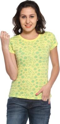 Maatra Printed Women,s Round Neck Yellow T-Shirt