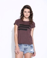 Cult Fiction Women's Clothing - Cult Fiction Printed Women's Round Neck Brown, Black T-Shirt