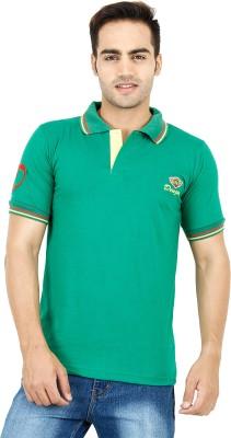 Denzo Solid Men's Polo Neck Green T-Shirt