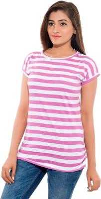 Feminine Striped Women's Round Neck Pink T-Shirt