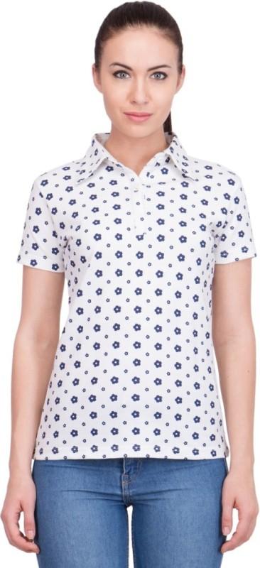 99Hunts Self Design Women's Polo Neck White T-Shirt