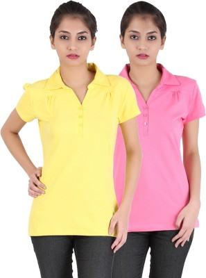 Avarnas Solid Women's Polo Neck Yellow, Pink T-Shirt