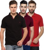 Youthen Solid Men's Polo Neck Black, Pur...