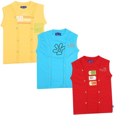 SPN Garments Printed Girl,s Round Neck Yellow, Blue, Red T-Shirt