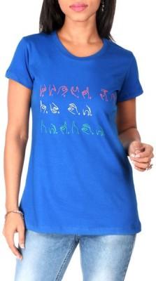 Mad(e) In India Graphic Print Women's Round Neck Dark Blue T-Shirt