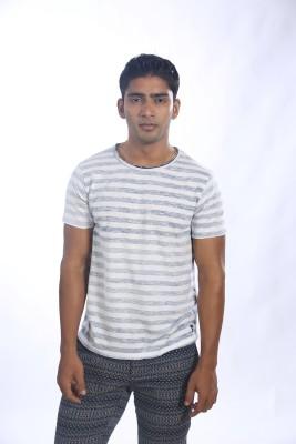 Fashnopolism Striped Men's Round Neck White T-Shirt