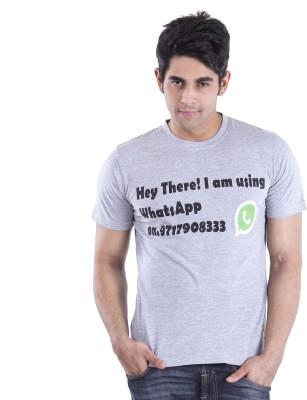 Texco Printed Men,s Round Neck Grey T-Shirt