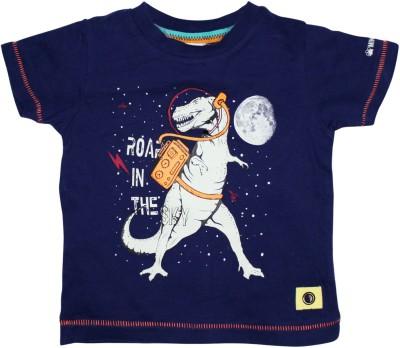 FS Mini Klub Printed Baby Boy's Round Neck Blue T-Shirt