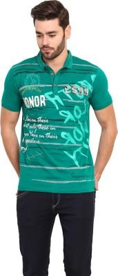 Mode Vetements Printed Men's Mandarin Collar Green T-Shirt