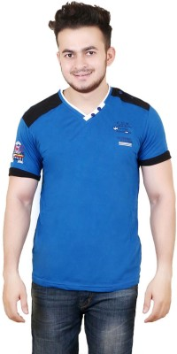 Zrestha Solid Men's V-neck Blue T-Shirt
