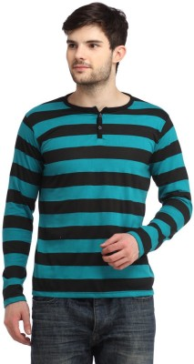 Bigidea Striped Men's Henley Green T-Shirt