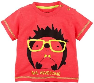 Babyoye Premium Printed Boy's Round Neck Red T-Shirt