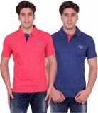 VENETIAN Solid Men's Polo Neck Pink, Blu...