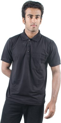 0-Degree Solid Men's Polo Neck T-Shirt