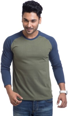 Cult Fiction Solid Men's Round Neck Green T-Shirt