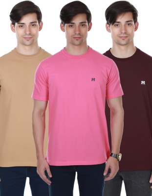 Cotton County Premium Solid Men's Round Neck Pink, Maroon, Brown T-Shirt