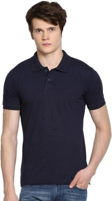 Rockhard Solid Men's Polo Neck Black T-Shirt