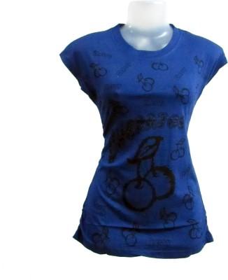 Revinfashions Solid Women's Round Neck Dark Blue T-Shirt