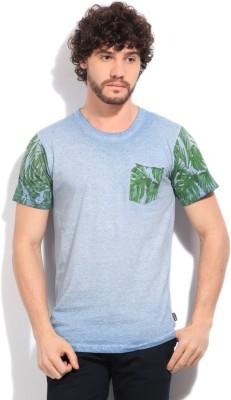 Indicode Solid Men's Blue T-Shirt