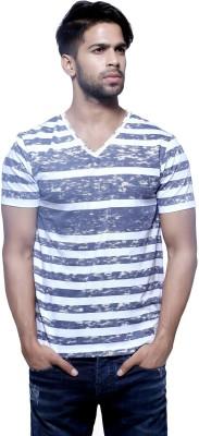 Fashnopolism Striped Men's V-neck Multicolor T-Shirt