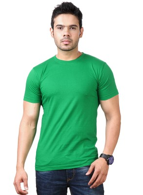 Funky Guys Solid Men's Round Neck Green T-Shirt