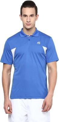 Aurro Solid Men's Polo Neck Blue T-Shirt