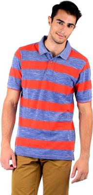 Mudo Striped Men's Polo Neck Red, Blue T-Shirt