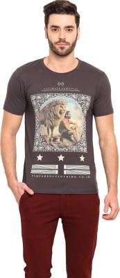Mode Vetements Printed Men's Mandarin Collar Grey T-Shirt
