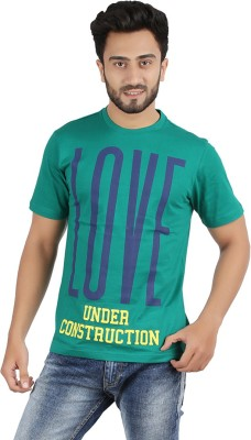 CHECKERSBAY Printed Men's Round Neck Green T-Shirt