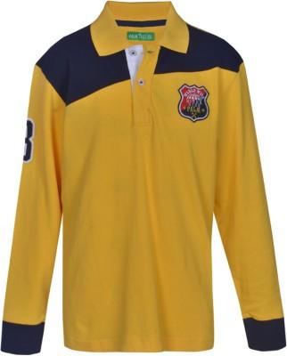 Gini & Jony Solid Boy's Polo Neck Yellow T-Shirt