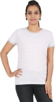 Recca Striped Women,s Round Neck White T-Shirt