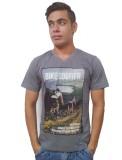 Port Blair Printed Men's V-neck Grey T-S...