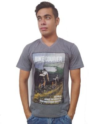 Port Blair Printed Men's V-neck Grey T-Shirt
