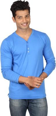 Poshuis Solid Men's Henley Blue T-Shirt