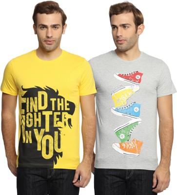 SharkTribe Printed Men's Round Neck Multicolor T-Shirt