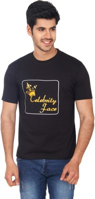 Celebrity Face Printed Men's Round Neck Black T-Shirt