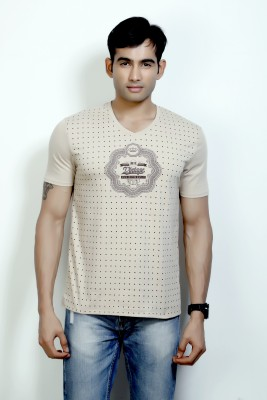 Design Classics Printed Men's V-neck Beige T-Shirt