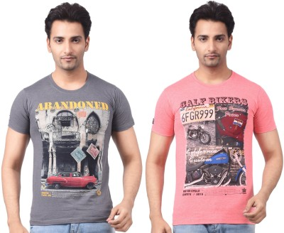 Four Squares Graphic Print Men's Round Neck Pink, Grey T-Shirt