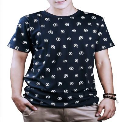 #Ootd Graphic Print Men's Round Neck Dark Blue T-Shirt
