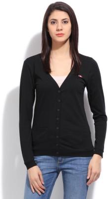 Champion Solid Women,s V-neck Black T-Shirt