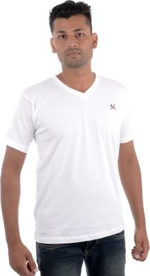 Moladz Solid Men's V-neck White T-Shirt