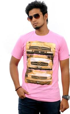 Stylefox Graphic Print Men's Round Neck Pink, Gold T-Shirt