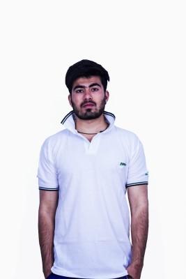 Khaiber Solid Men's Peter Pan Collar White T-Shirt