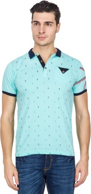 Four Square Printed Men's Polo Neck Light Blue T-Shirt