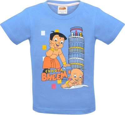 Chhota Bheem Printed Baby Girl's Round Neck Blue T-Shirt