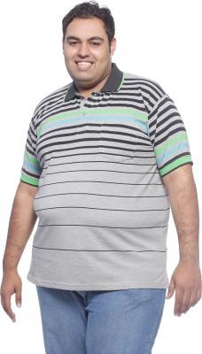 Pluss Solid Men's Polo Neck Grey T-Shirt