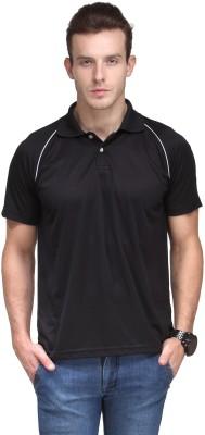Scott International Solid Men's Polo Neck Black T-Shirt