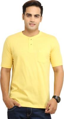 WallWest Solid Men's Henley Yellow T-Shirt