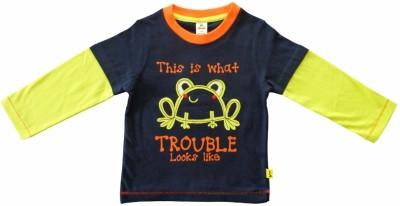 Tiny Bee Applique Boy,s Round Neck Dark Blue T-Shirt