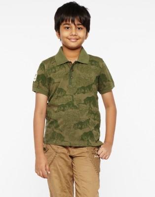 Do U Speak Green Printed Boy's Polo Green T-Shirt